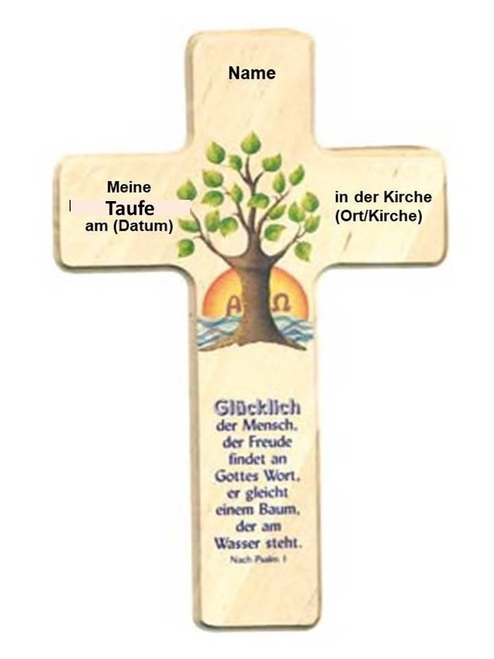 Taufkreuz Mit Namen Taufdatum Und Taufort Motiv Lebensbaum