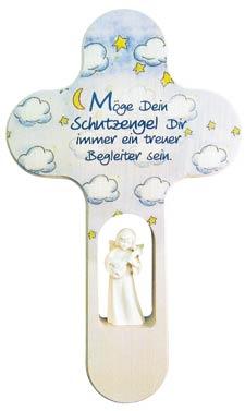 Kreuz Mit Holzengel Wolke Blau Mit Gebet